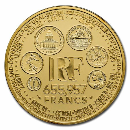 1999 France Gold 1 Oz Euro Conversion Round All Other