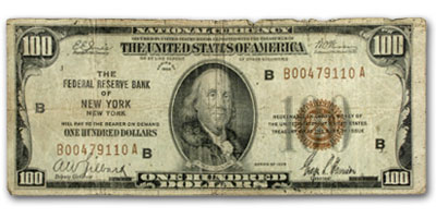 1929 (B-New York) $100 FRBN Brown Seal VG/Fine