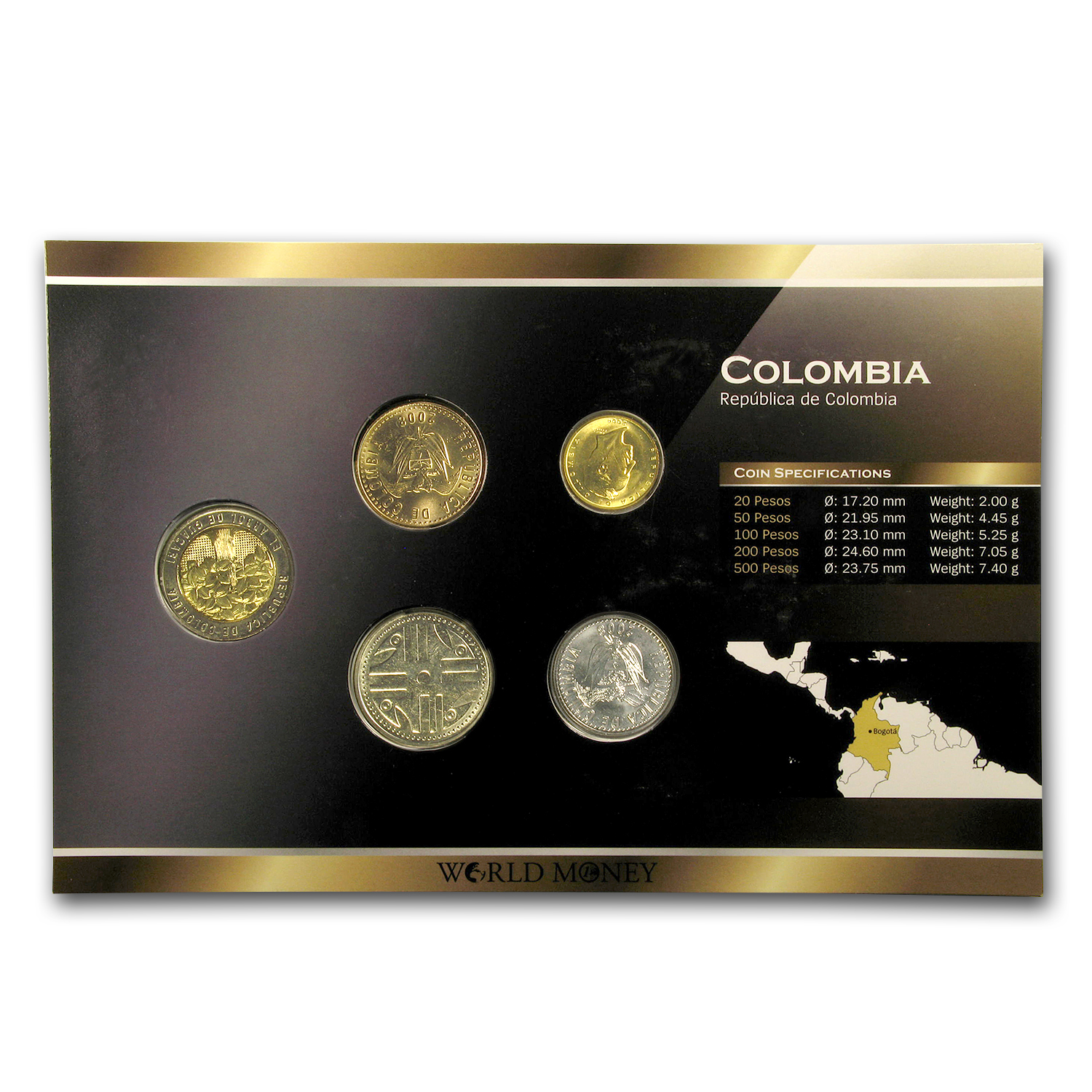 1995-2003 Colombia 20-500 Pesos 5-Coin Set BU