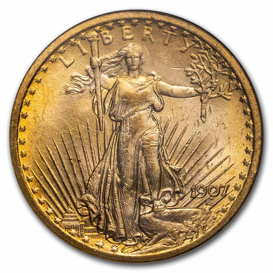 1907 $20 St. Gaudens Gold Double Eagle - MS-63 NGC