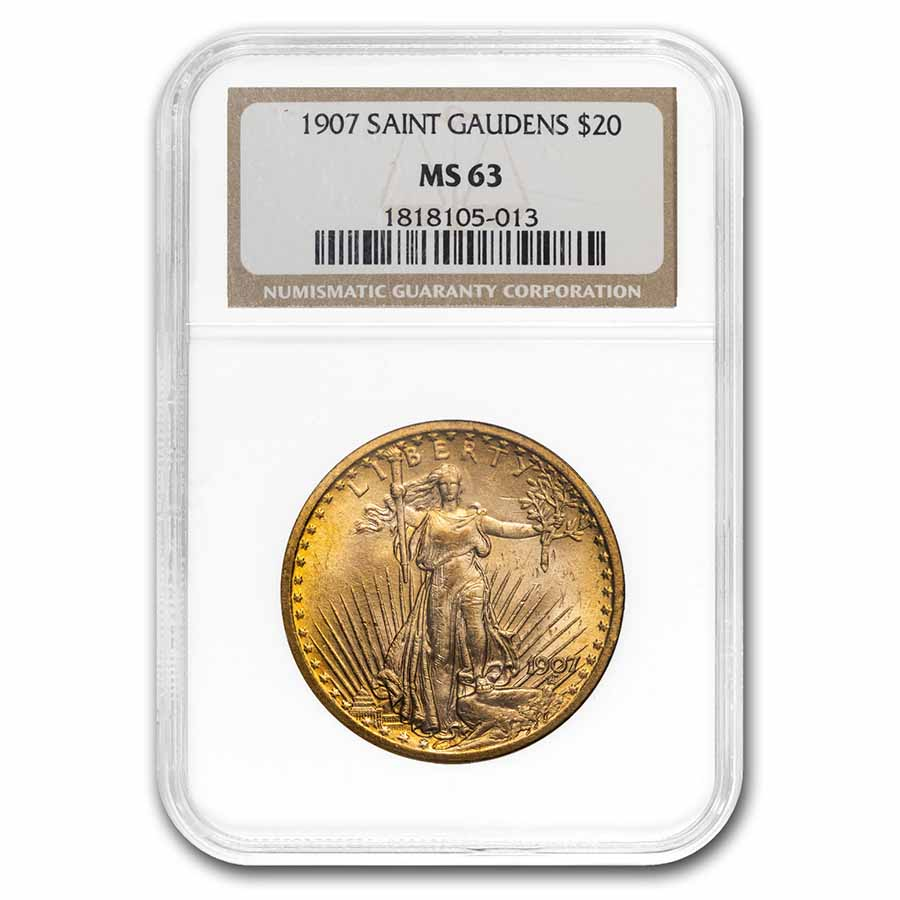 1907 $20 St. Gaudens Gold Double Eagle MS-63 NGC