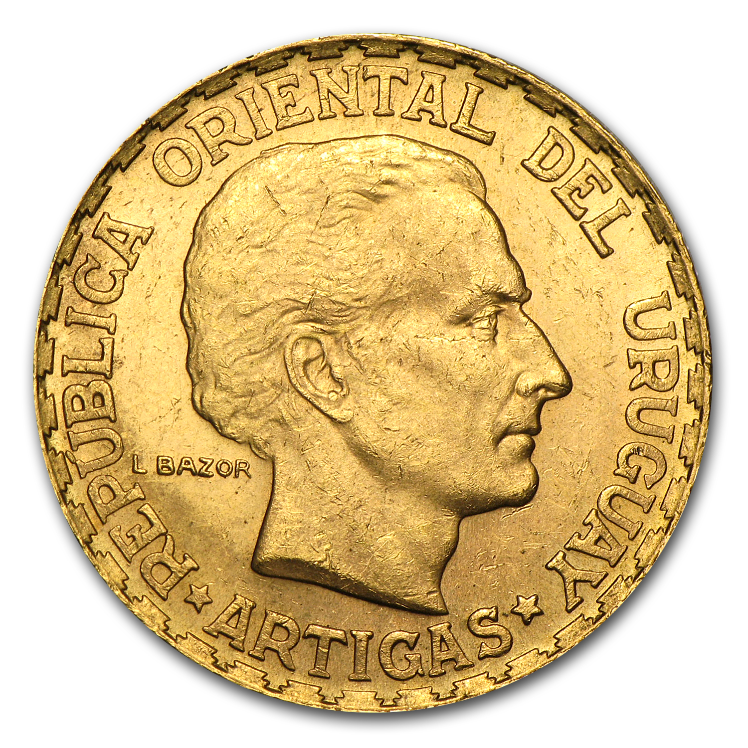 Uruguay 1930 5 Pesos Gold - EF or Better AGW .2501