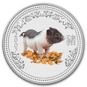 2007 1/2 kilo Silver Lunar Year of the Pig (Series I) (Colorized)