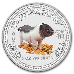 2007 5 oz Silver Australian Year of the Pig BU (Colorized)