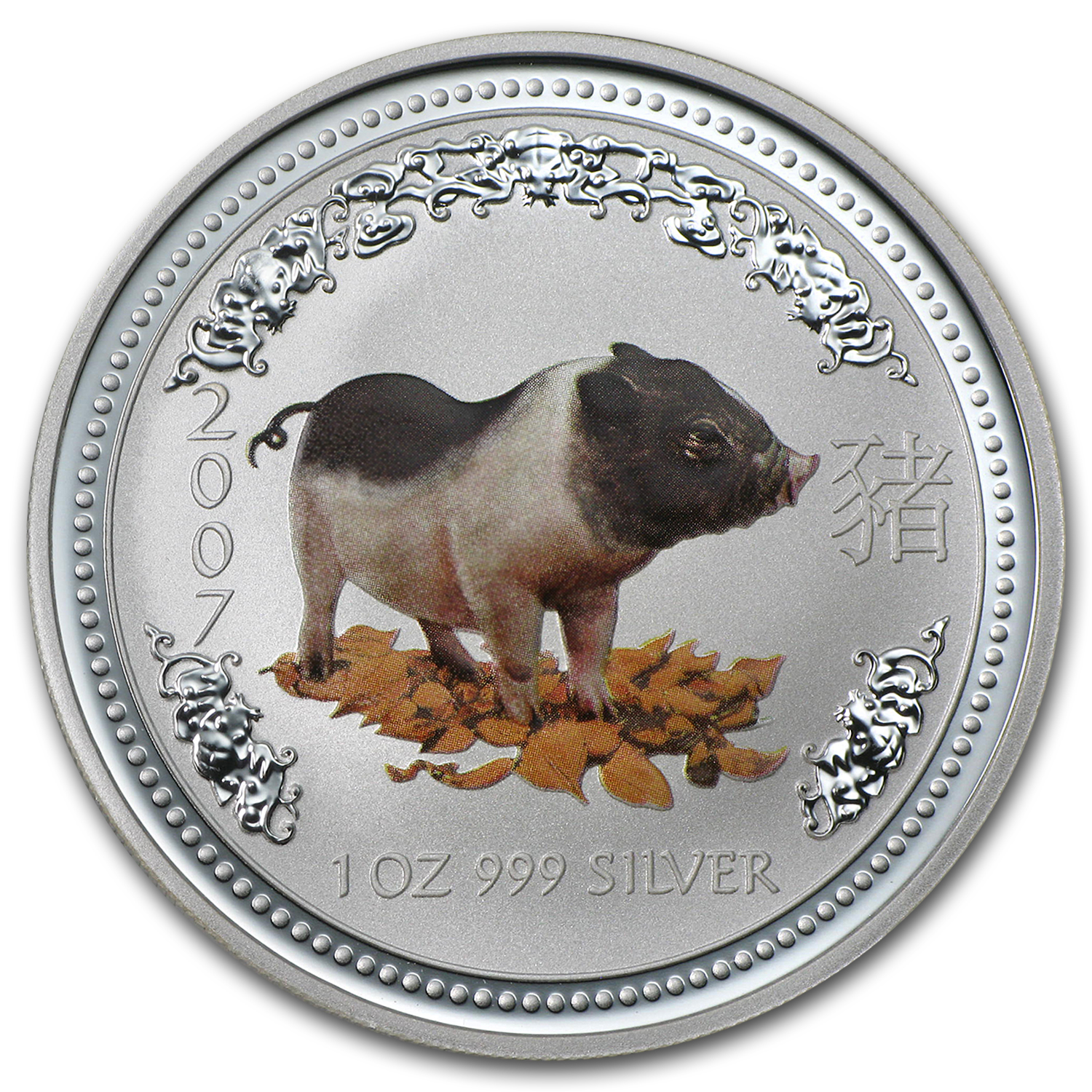 2007 1 oz Silver Australian Year of the Pig BU (Colorized)