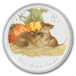 2008 Year of the Mouse 1 Kilo Silver Coin (SII) (Colorized)