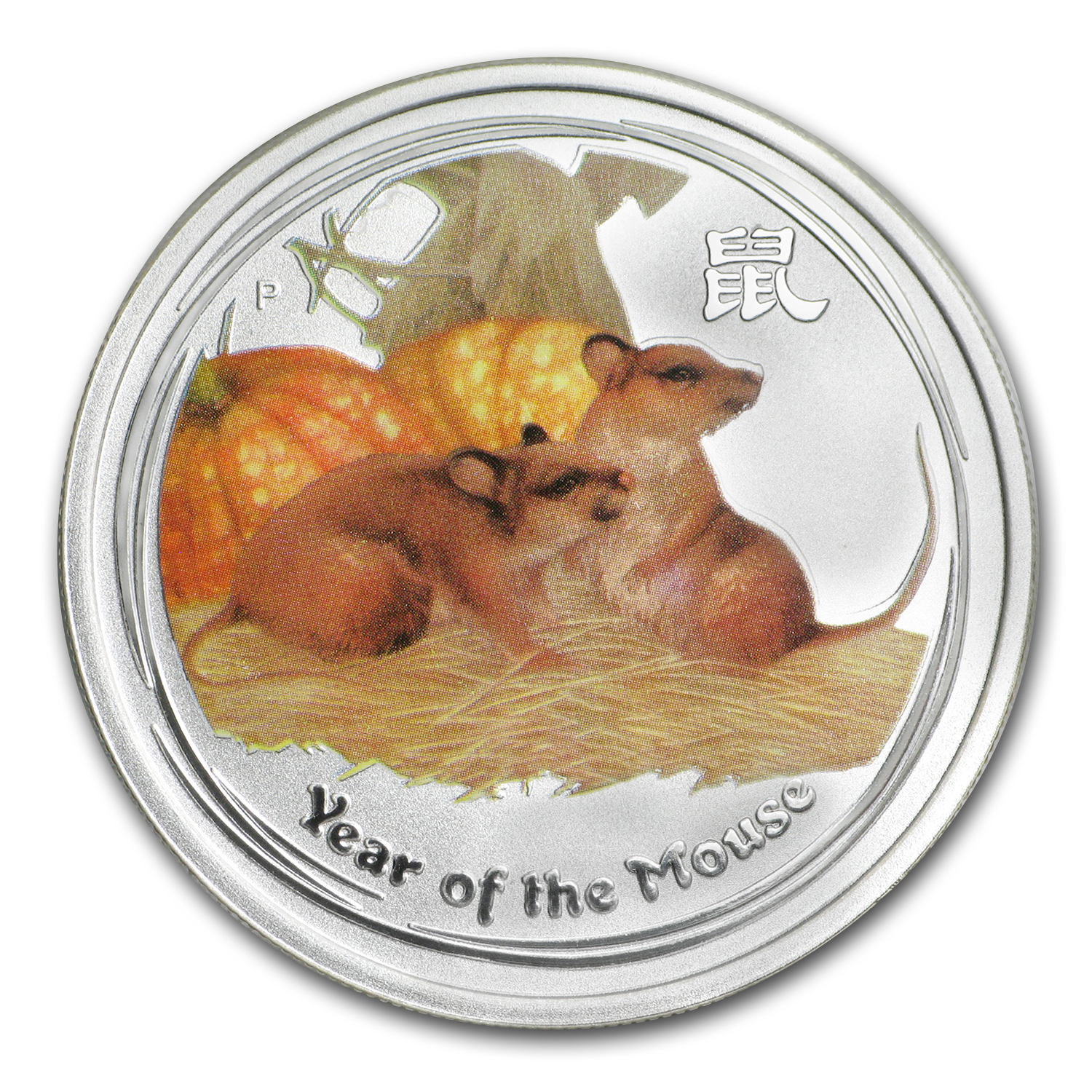 2008 Australia 1/2 oz Silver Mouse BU (Series II, Colorized)