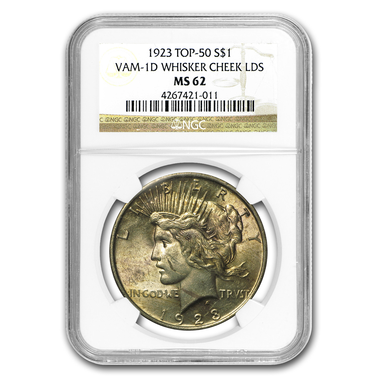 1923 Peace Dollar MS-62 NGC (VAM-1D, Whisker Cheek LDS, Top-50)