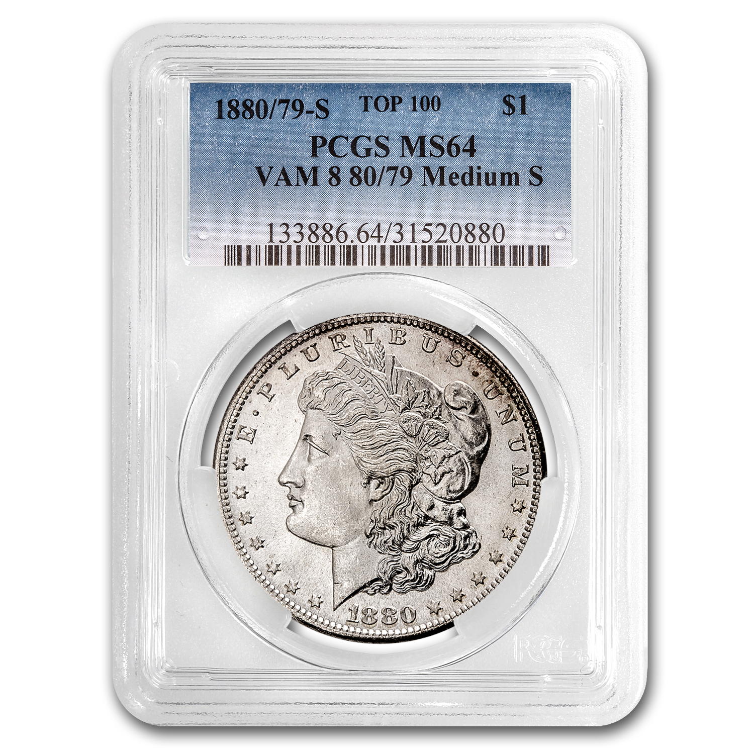 1880/79-S Morgan Dollar MS-64 PCGS (VAM-8, 80/79 Overdate)