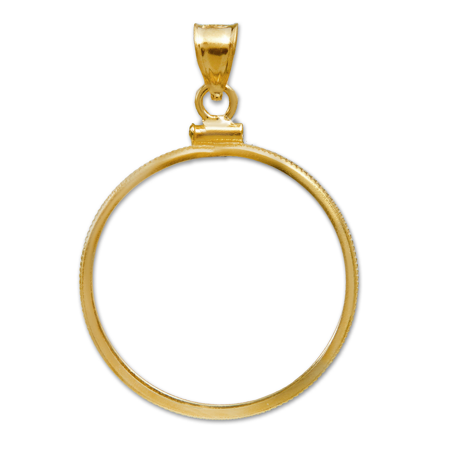 14K Gold Screw-Top Plain-Front Coin Bezel For $5 U.S. Gold Coins