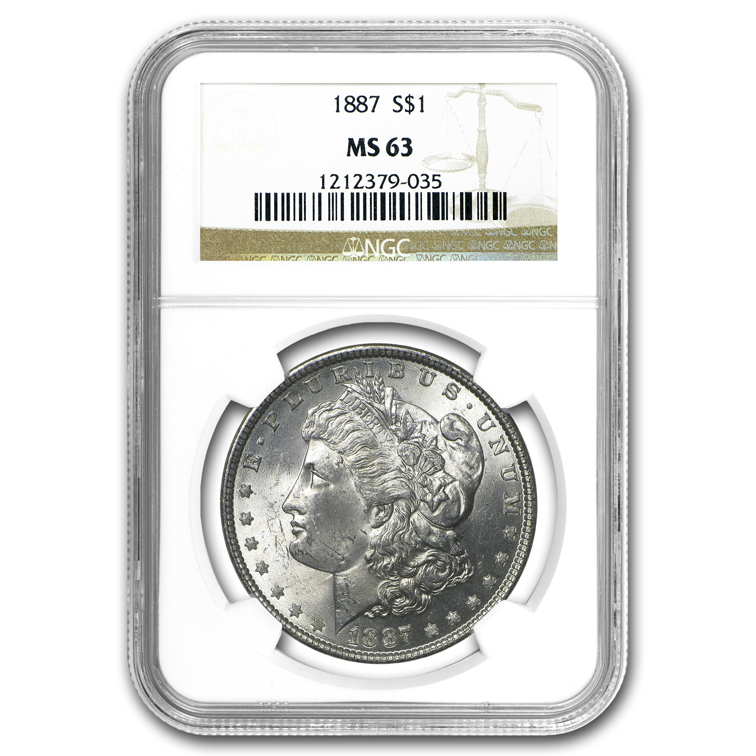 1887 Morgan Silver Dollar MS-63 NGC