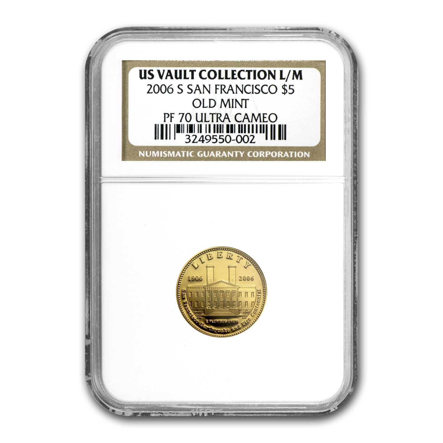 2006-S San Francisco Old Mint - $5 Gold Commem - PF-70 UCAM NGC