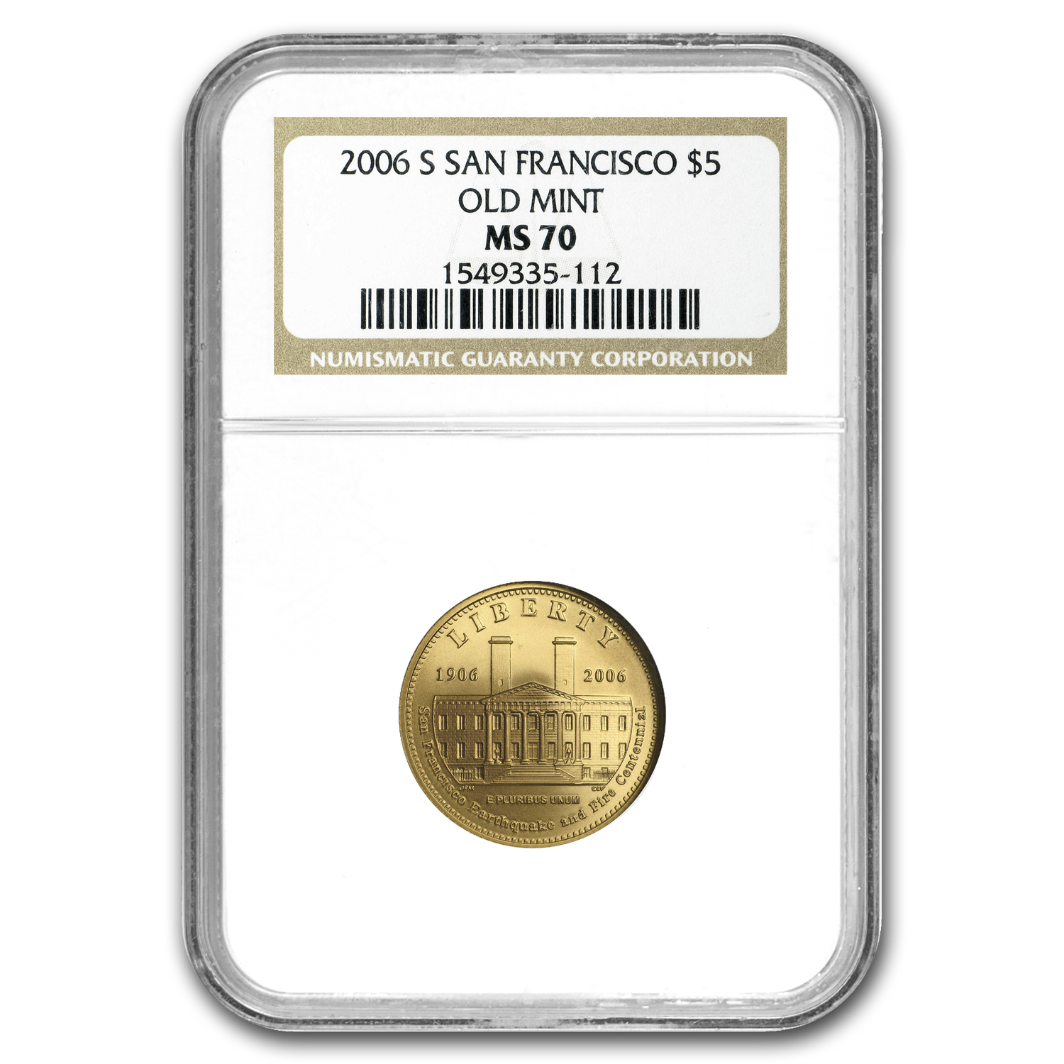 2006-S San Francisco Old Mint - $5 Gold Commemorative - MS-70 NGC