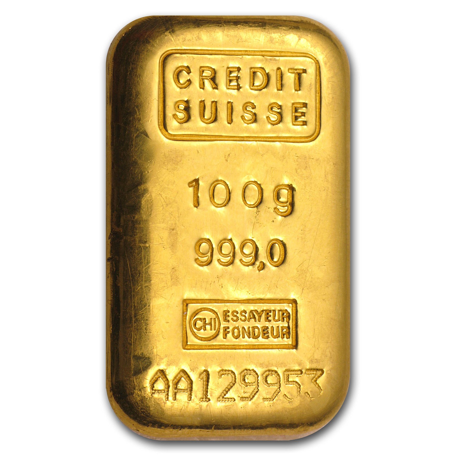 100 gram Gold Bar - Credit Suisse (Loaf style)