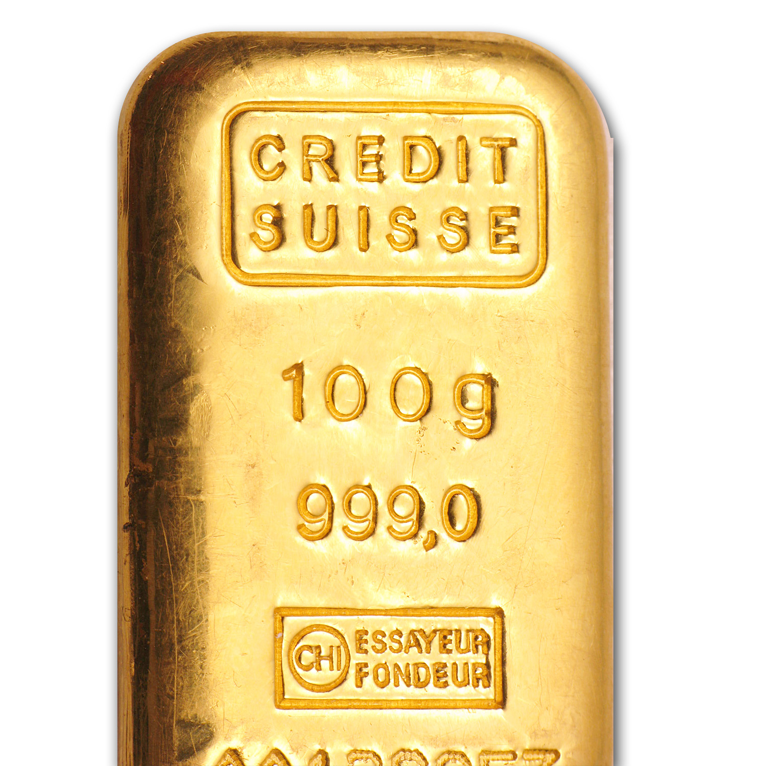 100 gram Credit Suisse Gold Bar .9999 Fine (Loaf style)