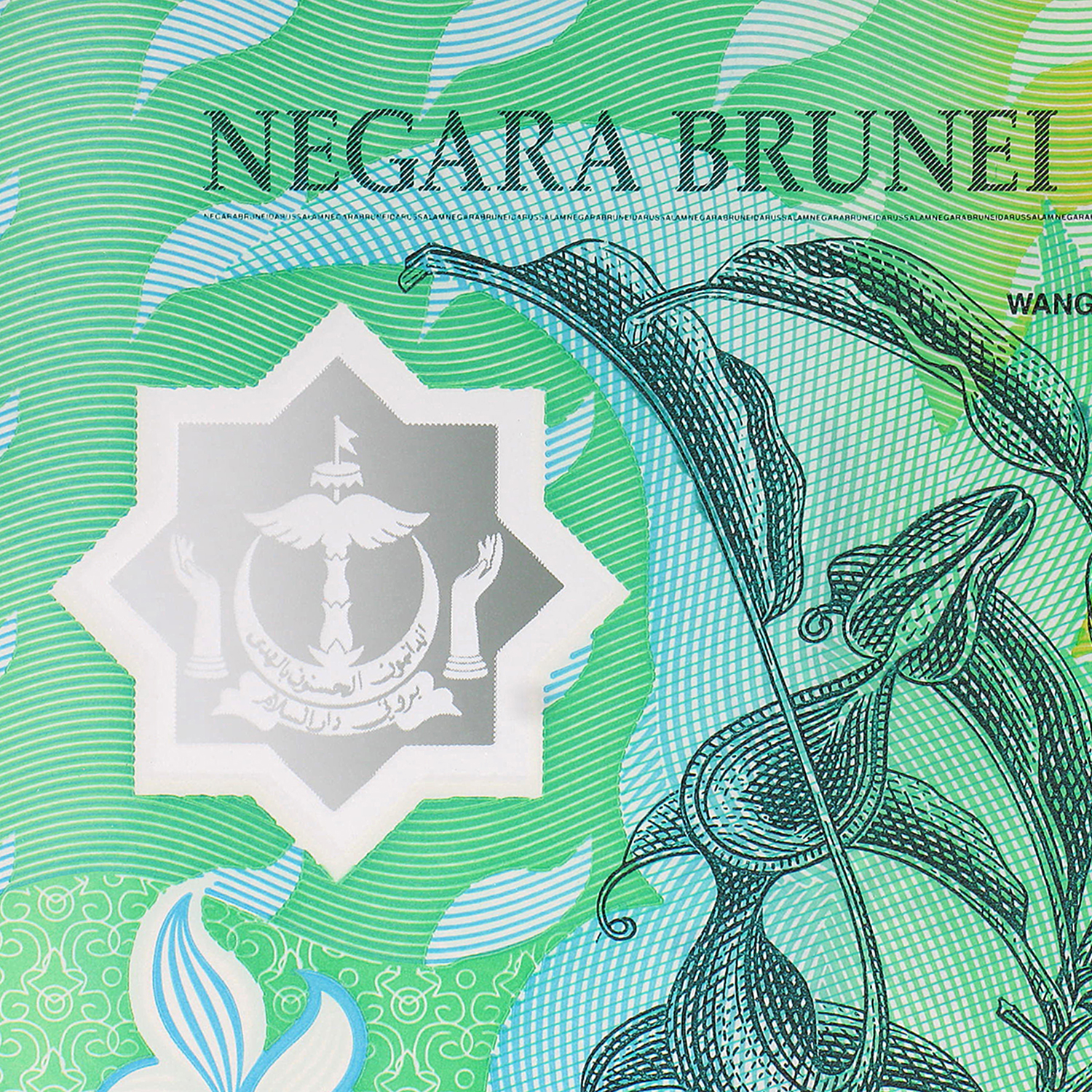1996 Brunei 5 Ringgit Polymer Unc Pitcher Plant Rainforest P#23