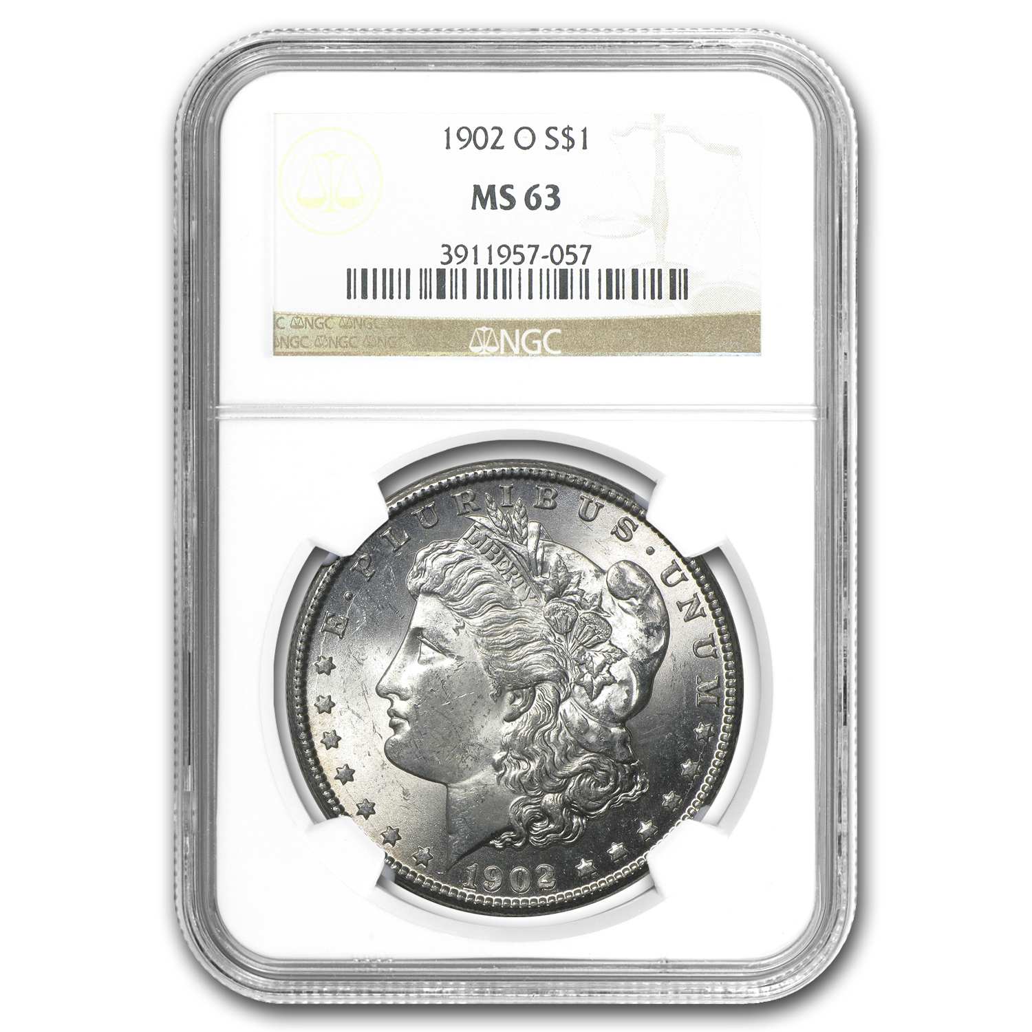 1902-O Morgan Dollar MS-63 NGC