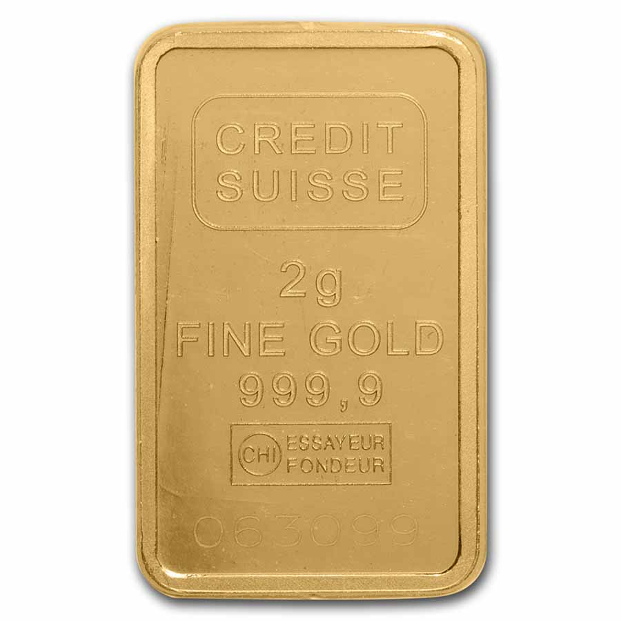 2 gram Gold Bar - Credit Suisse Statue of Liberty (In Assay)