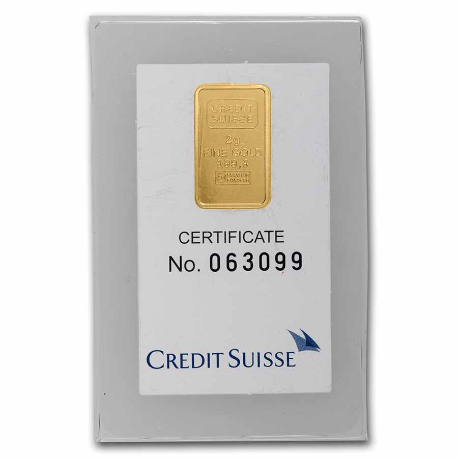 2 gram Gold Bars - Credit Suisse (Statue of Liberty) (In Assay)