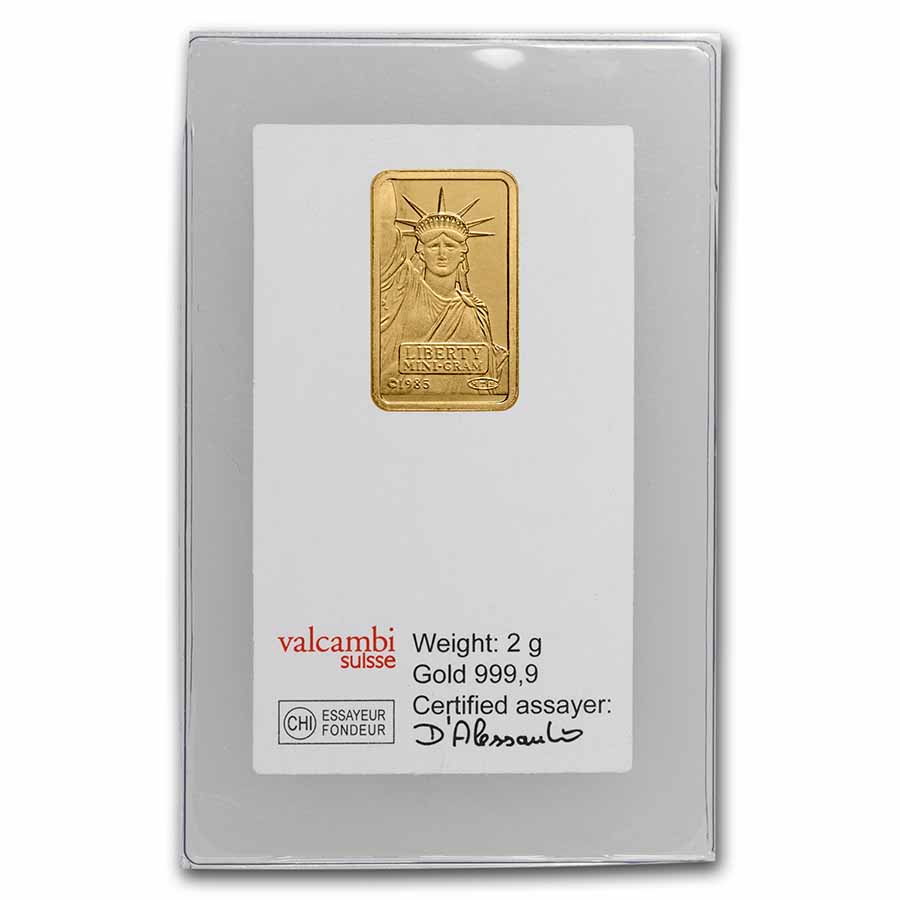 2 gram Gold Bar - Credit Suisse Statue of Liberty (In Assay) 3/4