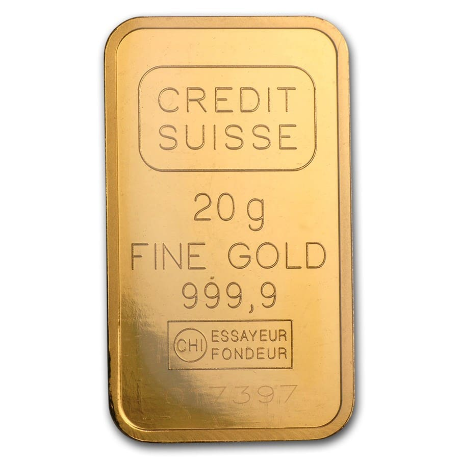 20 gram Gold Bar - Credit Suisse Statue of Liberty