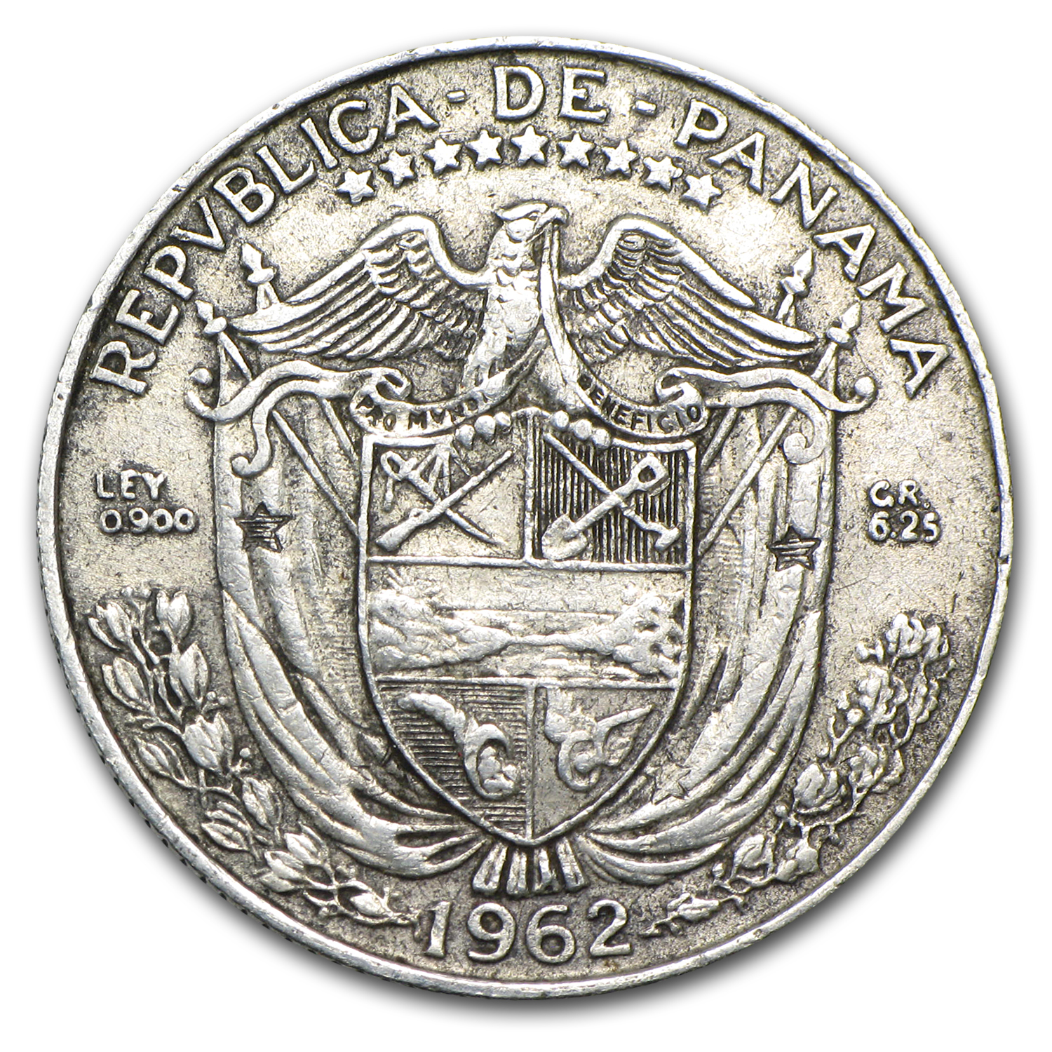 Panama 1/4 Balboa (90% Silver) Average Circulated