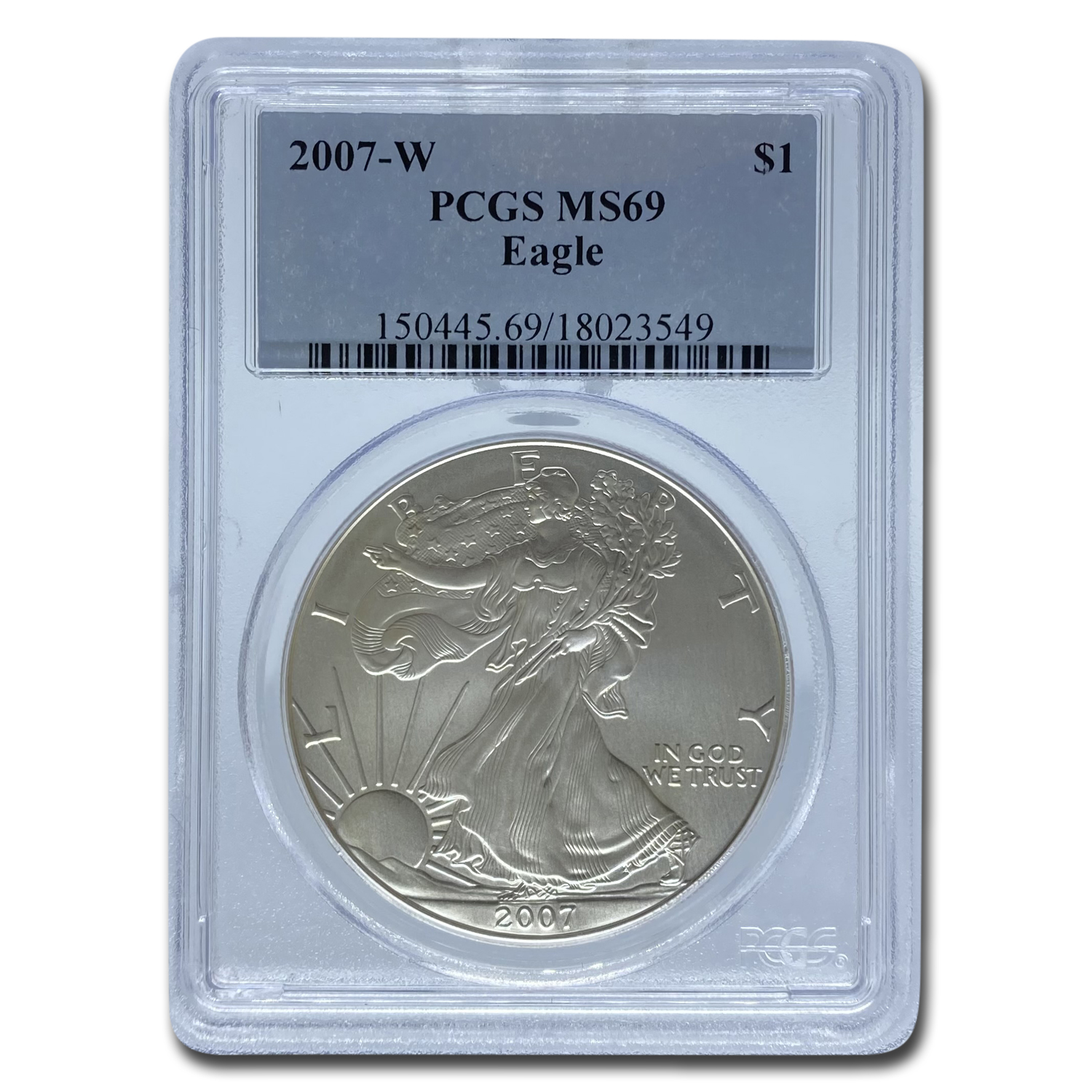 2007-W Burnished Silver American Eagle SP-69 PCGS