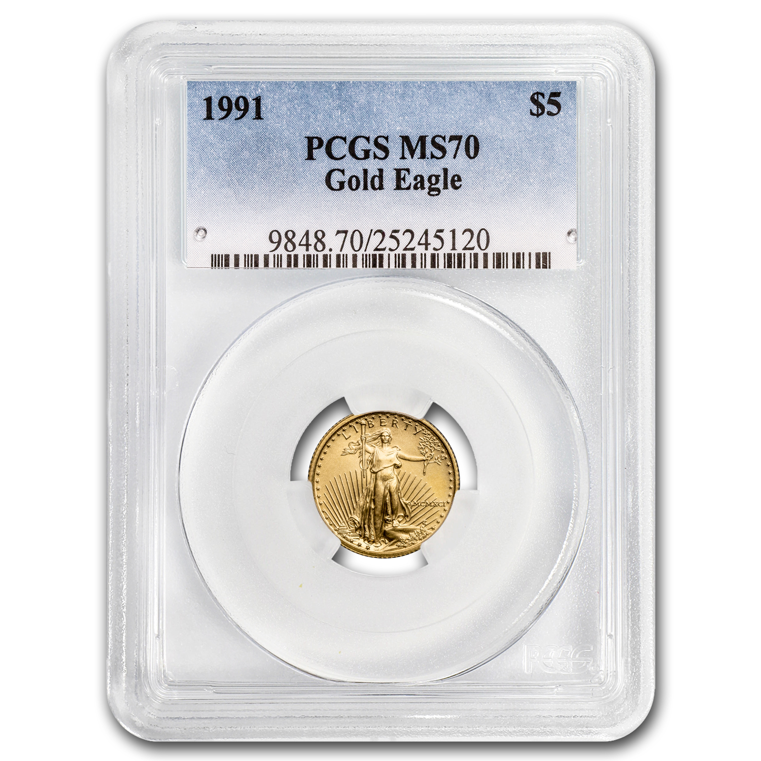 1991 1/10 oz Gold American Eagle MS-70 PCGS (Registry Set)