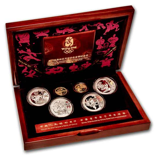 2008 China 6-Coin Gold & Silver Olympic Proof Set (Series I)