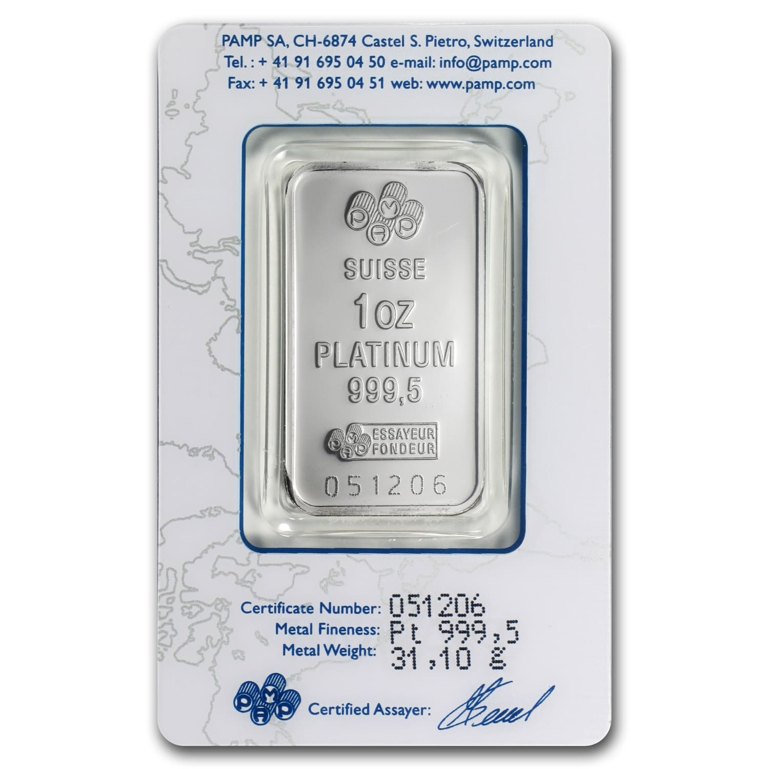 1 oz Platinum Bar - Pamp Suisse (Pre-Sale 2/12)