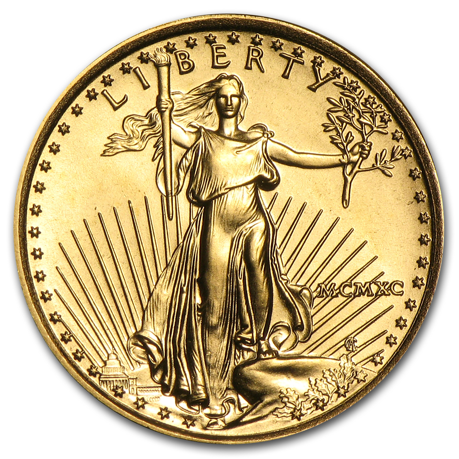1990 1/10 oz Gold American Eagle BU (MCMXC)