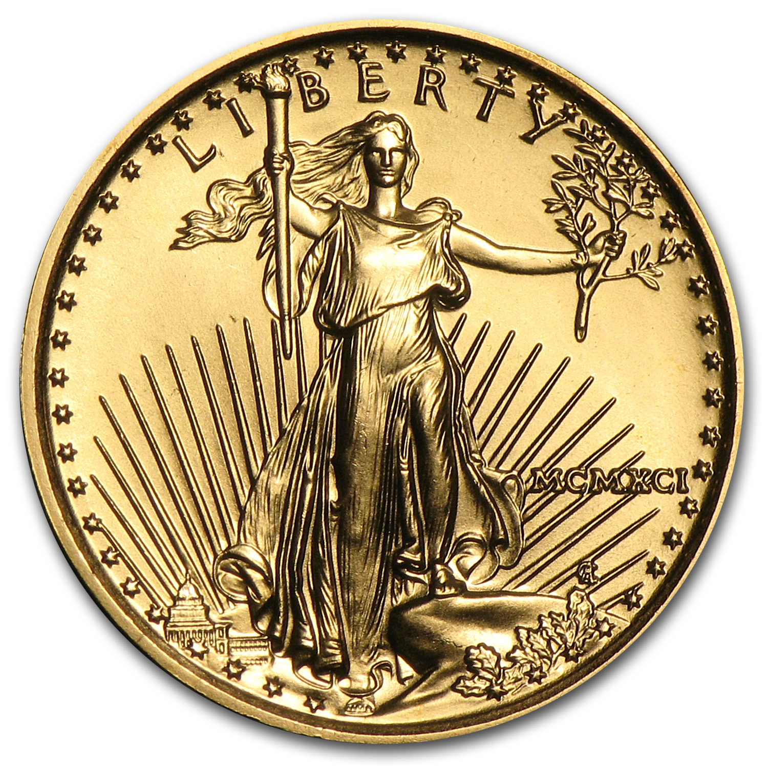 1991 MCMXCI 1/10 oz Gold American Eagle (BU)