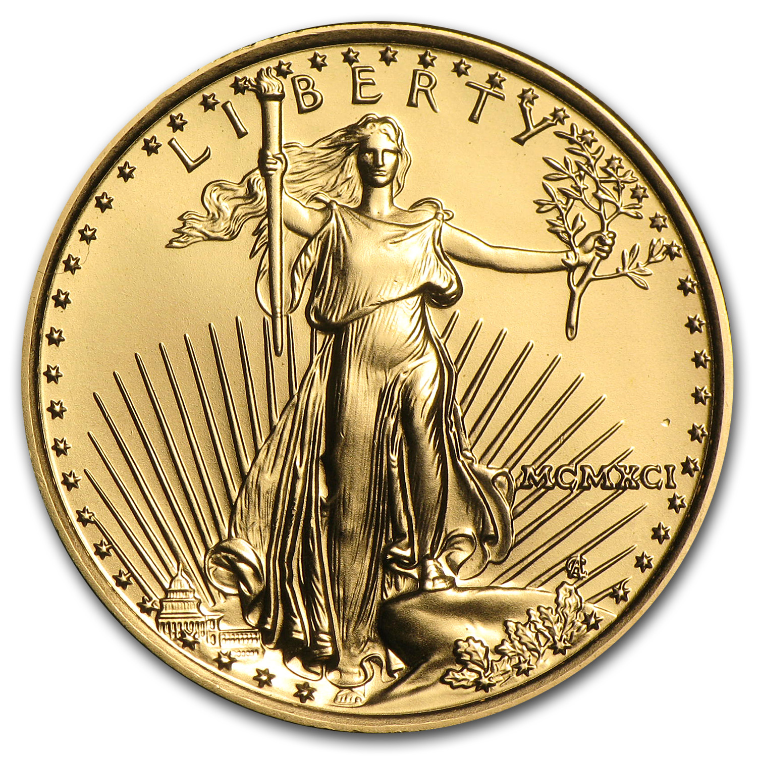 1991 1/4 oz Gold American Eagle BU (MCMXCI)