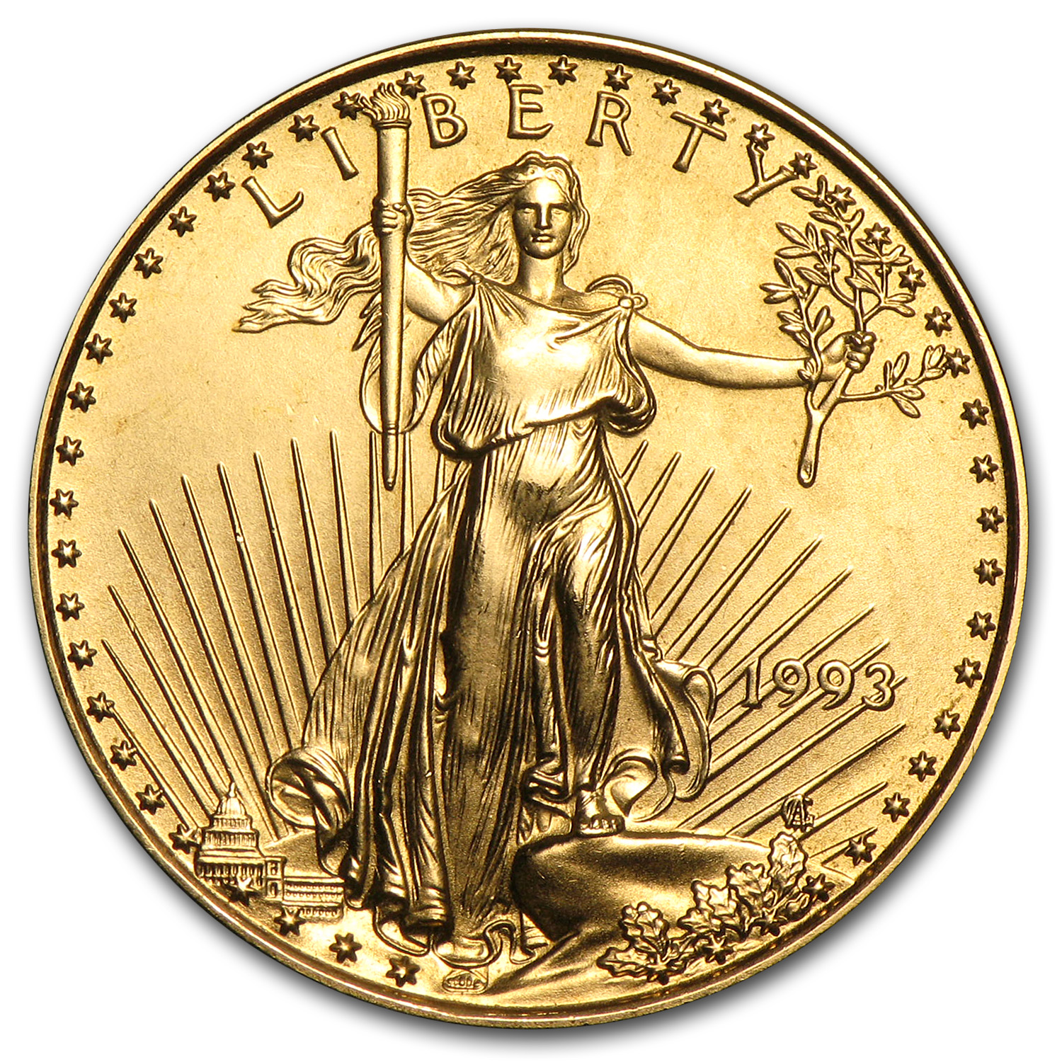 1993 1/4 oz Gold American Eagle BU
