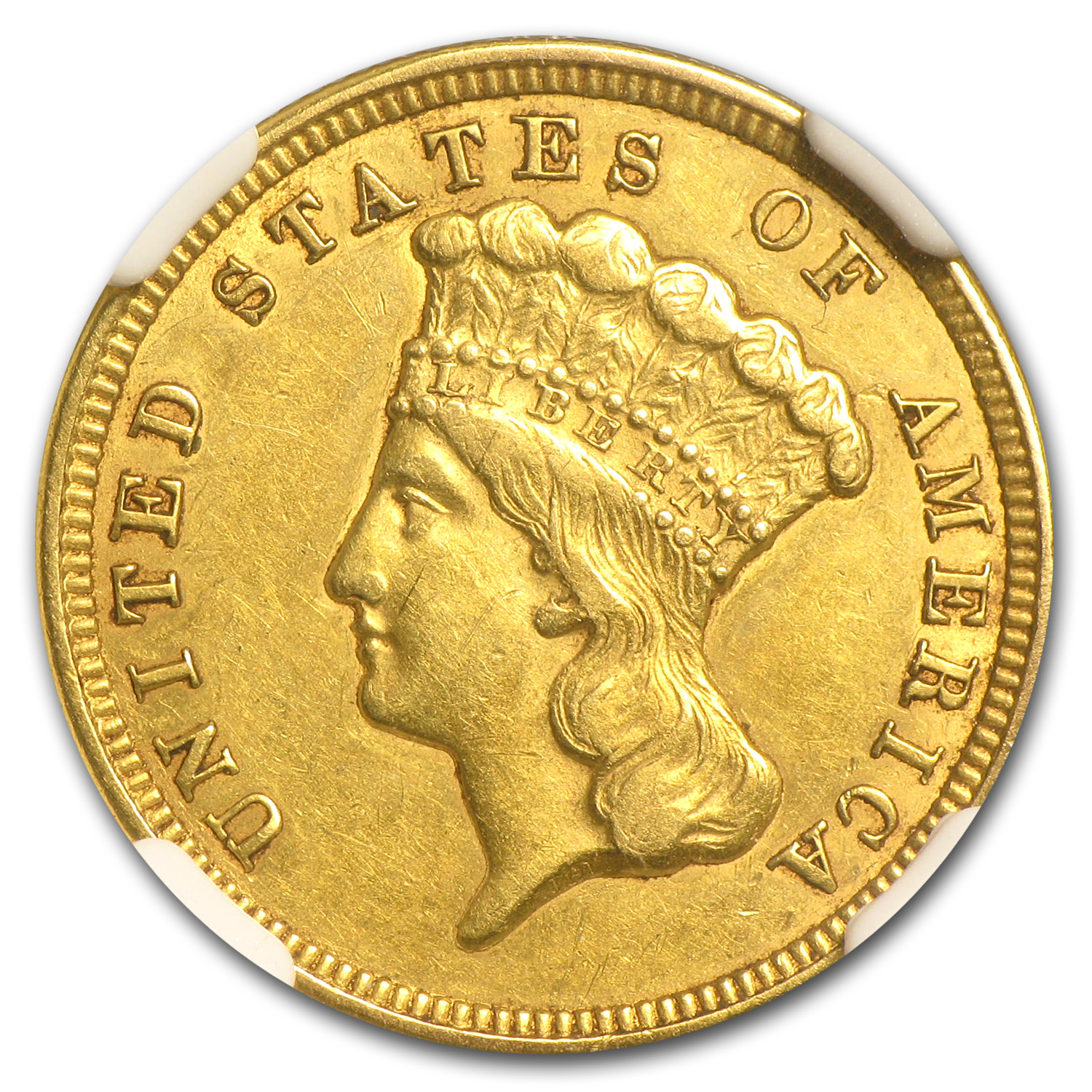 1856 $3 Gold Princess - AU-55 NGC