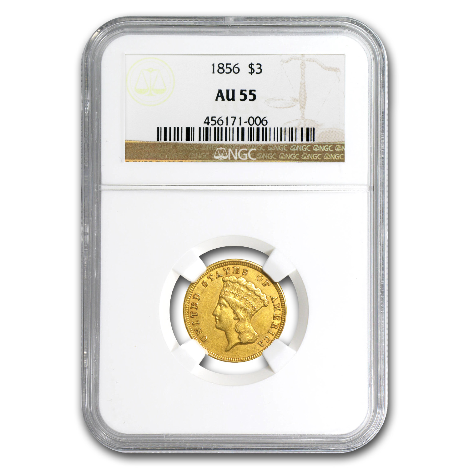 1856 $3 Gold Princess AU-55 NGC