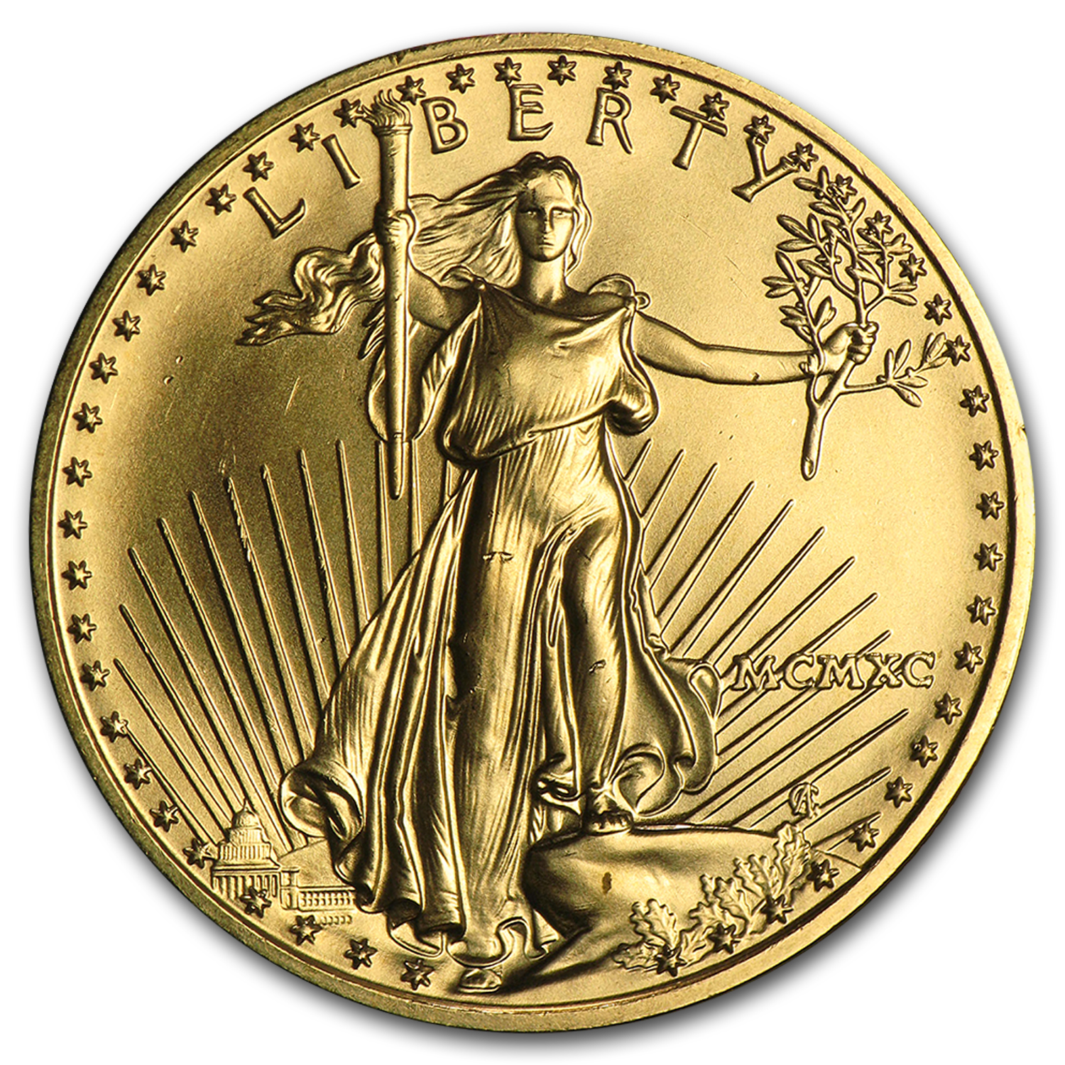 1990 MCMXC 1/2 oz Gold American Eagle (BU)