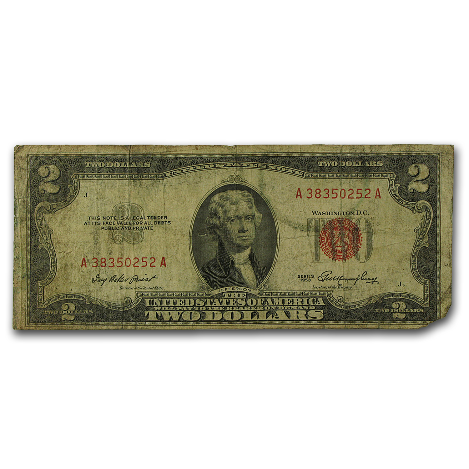 1953 thru 1953-C $2.00 U.S. Notes Red Seal Cull/Good