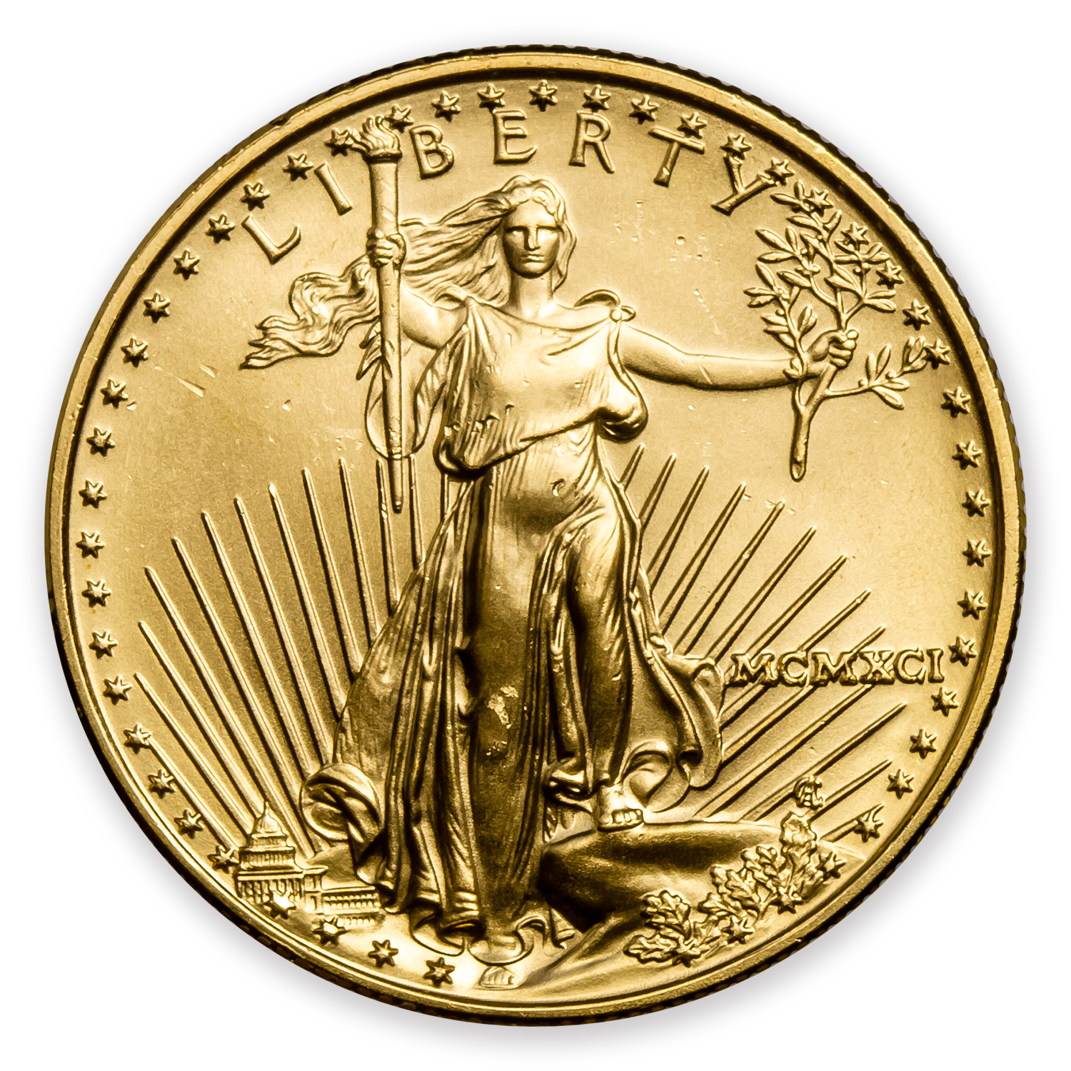 1991 MCMXCI 1/2 oz Gold American Eagle (BU)