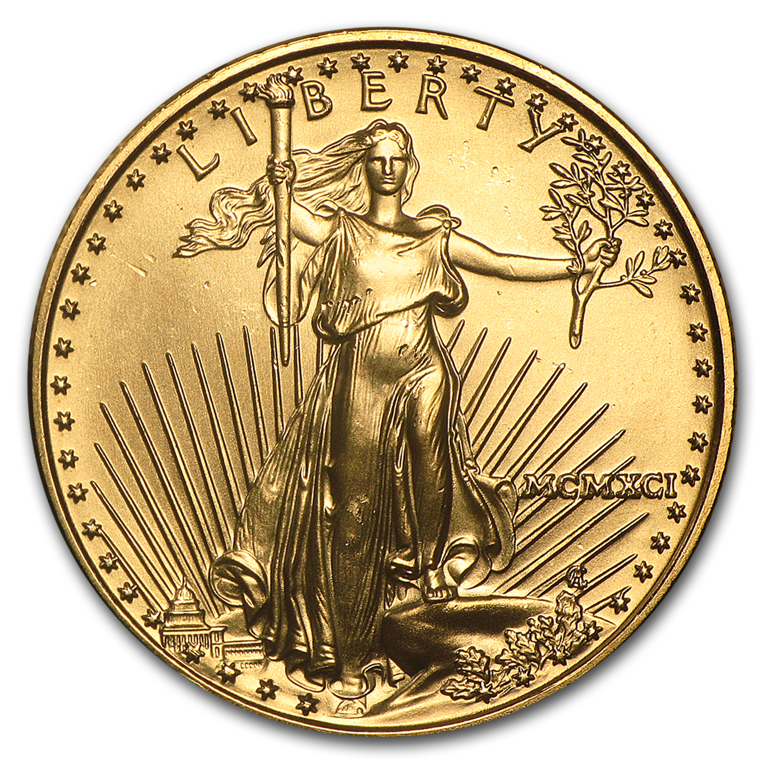 1991 1/2 oz Gold American Eagle BU (MCMXCI)