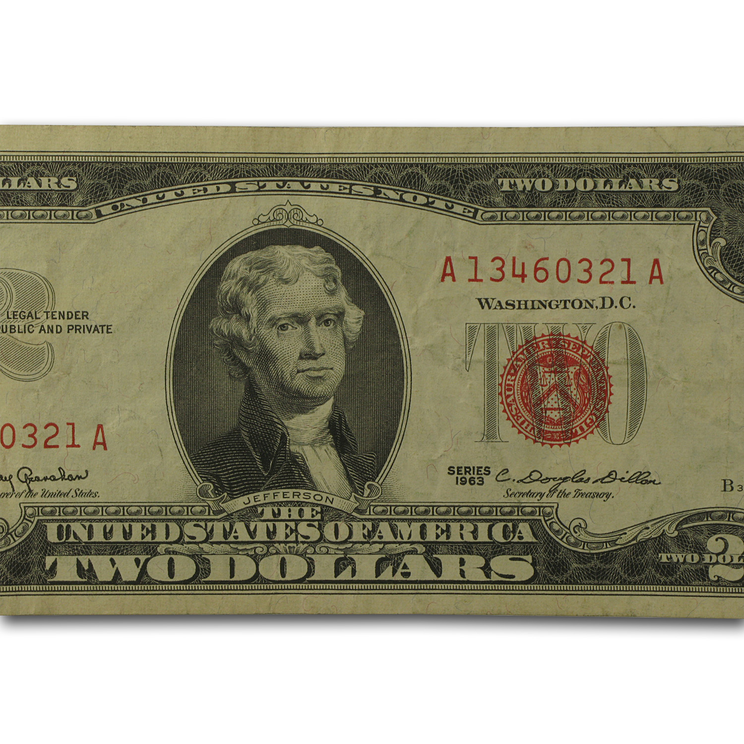 1963-1963-A $2.00 U.S. Notes Red Seal VG/VF