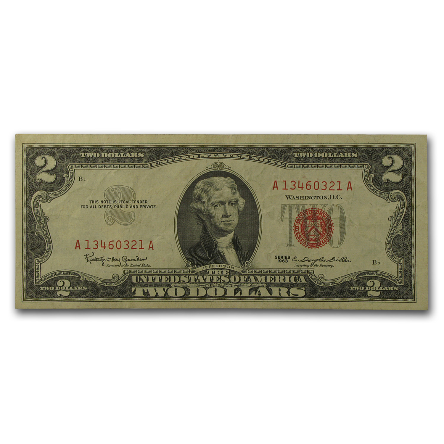 1963-1963-A $2 USNs (Red Seals) Very Good - Very Fine