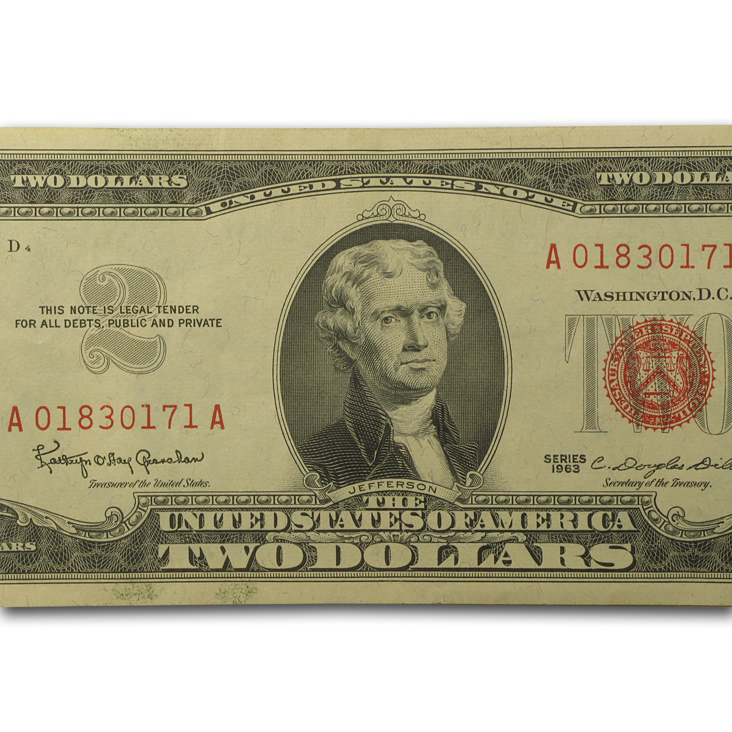 1963 thru 1963-A $2.00 U.S. Notes Red Seal XF