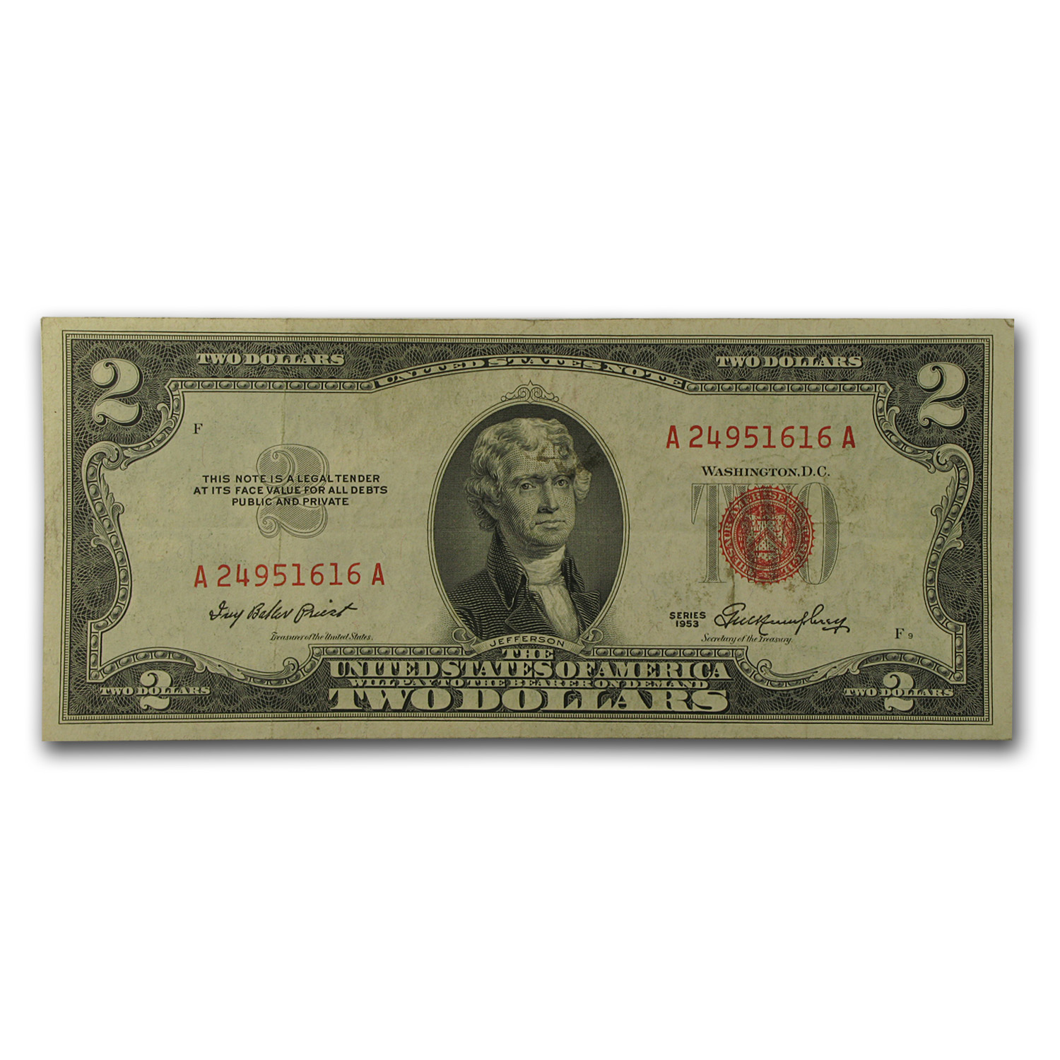 1953-1953-C $2.00 U.S. Notes Red Seal VG/VF