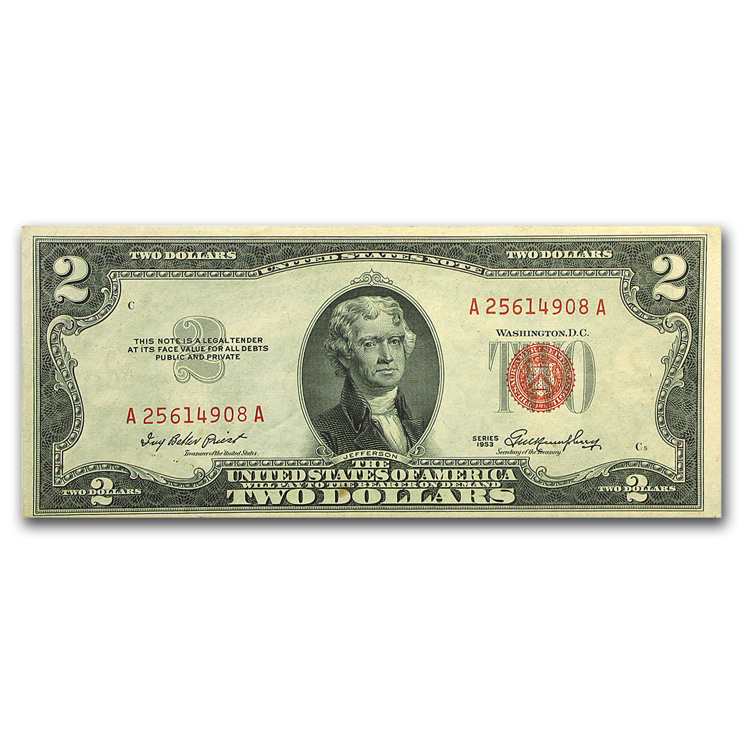 1953-1953-C $2.00 U.S. Notes Red Seal VF-XF