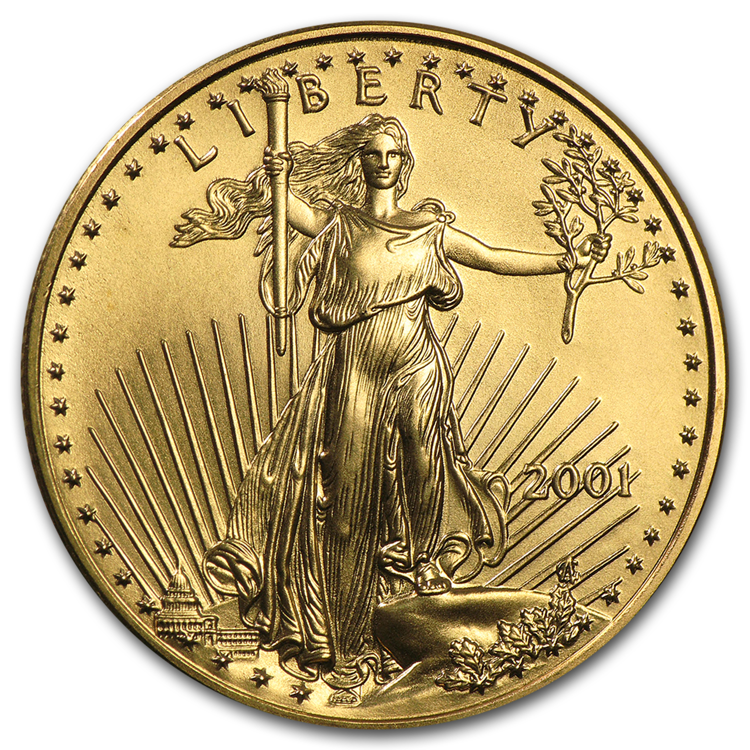 2001 1/2 oz Gold American Eagle BU