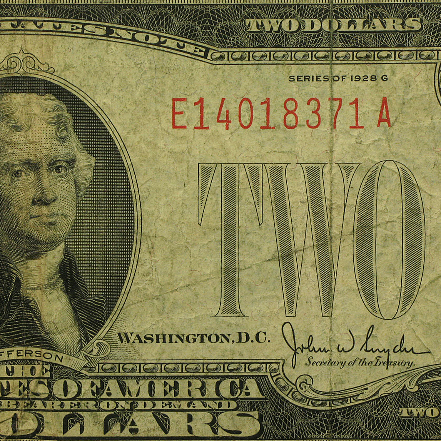 1928 thru 1928-G $2.00 U.S. Notes Red Seal Cull/Good
