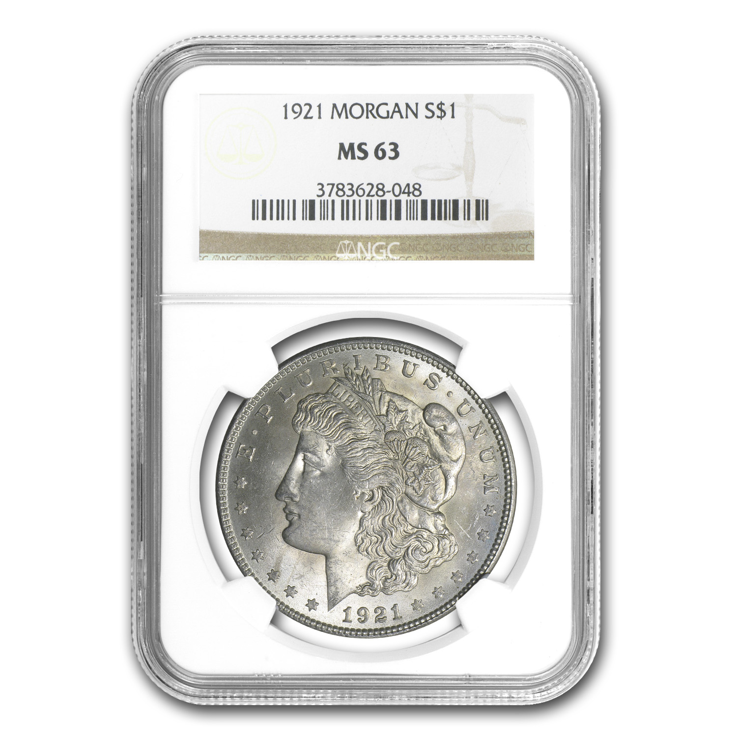 1921 Morgan Silver Dollar MS-63 NGC