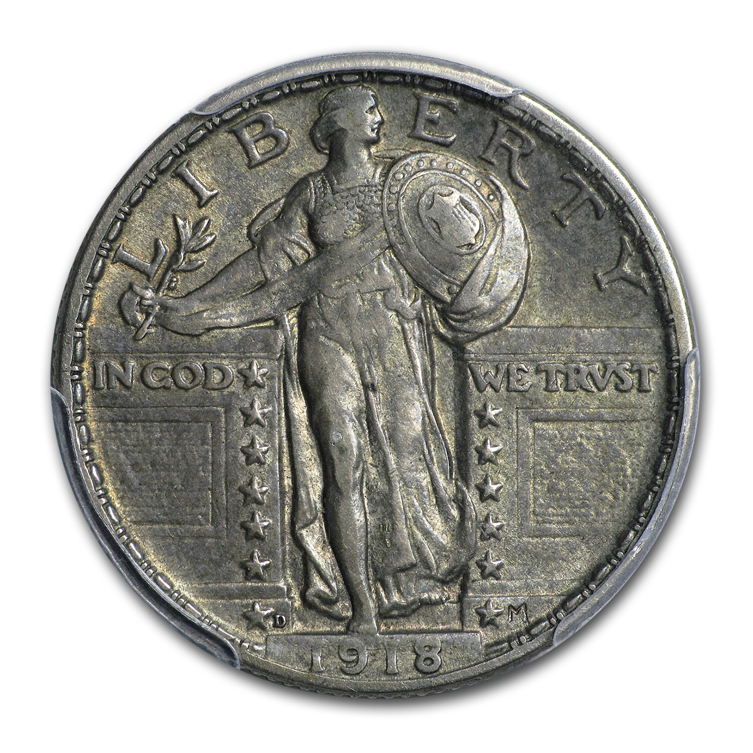 1918-D Standing Liberty Quarter AU (Toned)