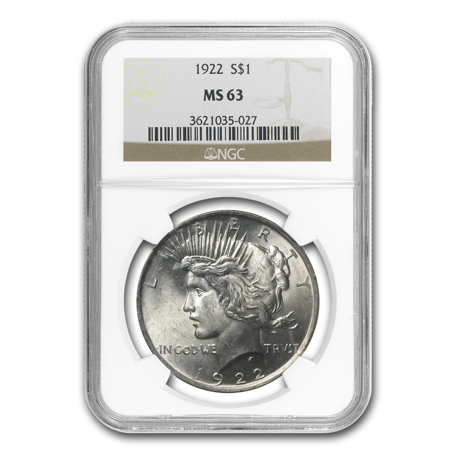 1922 Peace Dollar MS-63 NGC